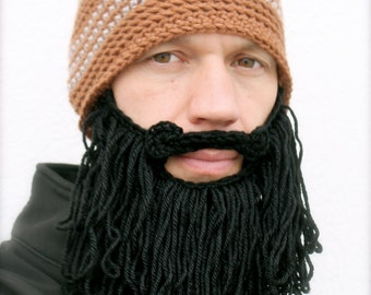 CLOSE OUT long beard hat, mens crochet beard beanie, bearded toque, mustache cap  The Original Beard Beanie™ shaggy