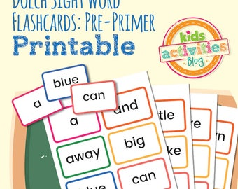 Dolch Sight Word Flashcards - Pre-Primer Words