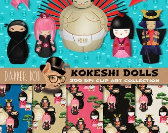 Japanese Kokeshi Dolls Clip Art and Digital Paper Collection