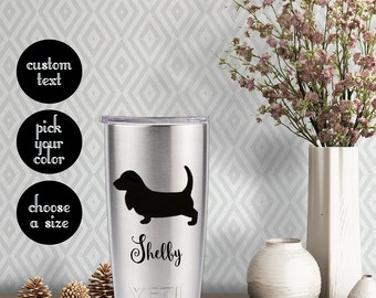 Basset Hound Solid Decal with customizeable text