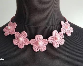 Crochet Necklace,Crochet Neck Accessory, Pink, 100% Cotton.