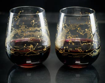 Night Sky Star Chart Stemless Wine Glasses Northern Hemisphere (Pair) | Astronomy Metallic Gold Stars Space Science, Star Map Constellation,