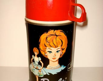 Collectible Vintage 1965 Barbie Thermos. 60s Mattel Barbie Lunchbox Thermos
