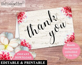Wedding THANK YOU Card Wedding Thank you Printable Rustic Personalised thank you editable thank you Instant Download thank you PDF 001