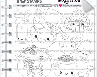 St Patricks Day Stamps 80OFF Commercial Use Digi Stamp Digital Image Digistamp Coloring Page Black And White