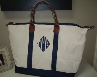 Monogrammed Canvas Weekender Bag-Navy