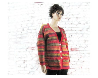 Knit Sweater Coat - Hand knit sweater - Mohair sweater coat - winter sweater - over sized sweater -  size large - # 186