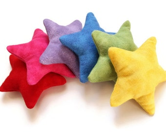 Star Shaped Rainbow Bean Bags Flannel Brights Children's Toy Educational Toss Game (set of 6) Five-point Star - US Shipping Included