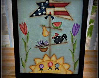 Americana Flag Star Summer Sunshine Flower 8 x 10 Framed Canvas Wall Art Home Decor