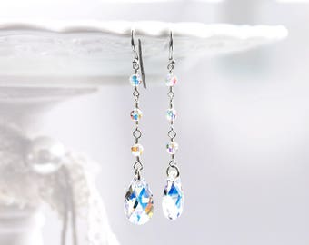 Crystal bridal earrings Silver earrings SWAROVSKI earrings Crystal earrings Sterling silver earrings White earrings Teardrop earrings 846