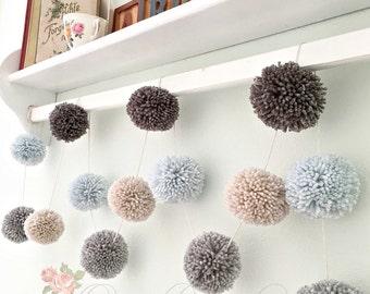 Pom Pom Yarn Garland - Arctic Ice Blue - Md. Gray - Dk. Gray - Linen - Wall Decor - Nursery - Wedding - Party Decor  Yarn Pom Poms 6 Ft.