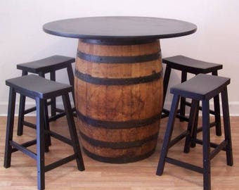 "Whiskey Barrel Table-42"" Table Top (4) 24"" Wood Bar Stools-FREE SHIPPING"
