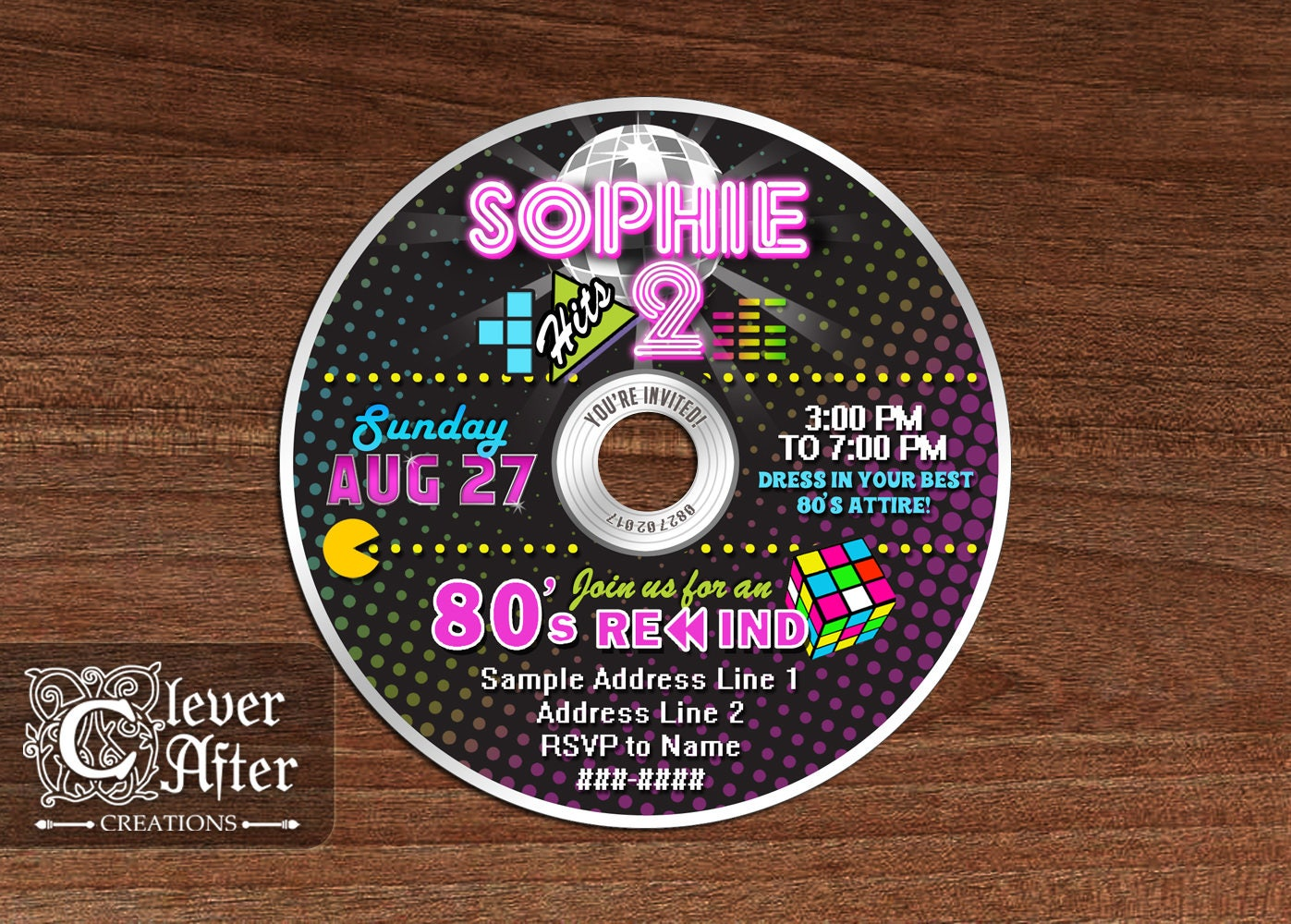 80\'s CD invitation Awesome Eighties disco invite colorful