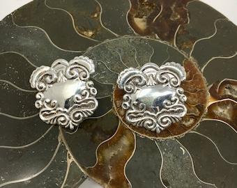 Vintage Embossed Sterling Silver Earrings