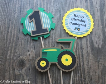Tractor Centerpieces - Set of 3 - DOUBLE-SIDED - Tractor Birthday Party - Tractor Party Decor - On The Farm Party - Farm Centerpieces