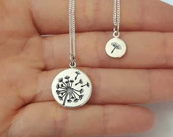 Sterling Silver Dandelion necklaces, Three necklaces, Mother Daughter Necklace, Kids Jewelry, Birthday Gift, Mother's Day Gift
