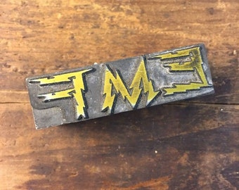 Vintage Letterpress Stamp All Metal Block EMF Electrical Lightening Advertising