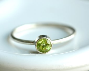 tiny peridot ring - custom sized stacking ring - textured delicate band - sterling silver