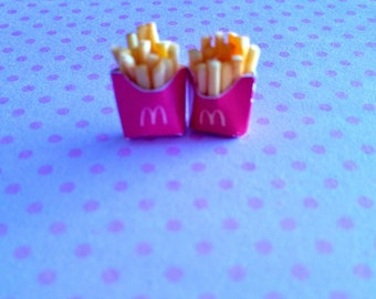 French Fries Stud Earrings - Miniature Food Jewelry - Inedible Food Jewelry - Gifts for Foodies - French Fries Jewelry - Junk Food Jewelry