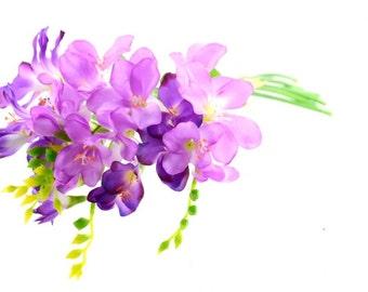 "Artificial Flowers Freesias Bouquet 13 1/2"" long Lilac"