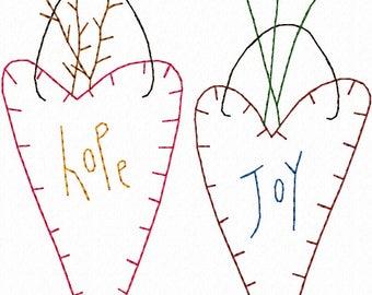 Hearts Hope Joy Machine Embroidery Design