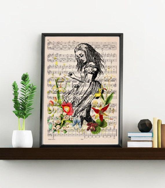 Alice in wonderland print on Music sheet, Alice with wild flowers, Nursery wall art, home wall decor ALW001WA4