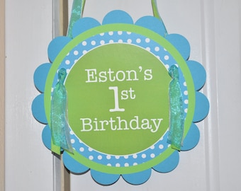 Boys 1st Birthday Door Sign - Bright Pool Blue, Bright Green and White Polkadots - Personalized