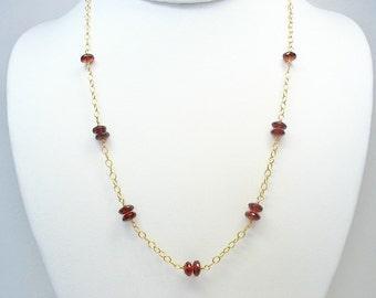 Garnet Necklace, Gold Garnet, Station Necklace, January Birthstone, Red Gemstone, Layering Necklace, Gemstone Jewelry, Birthstone Necklace