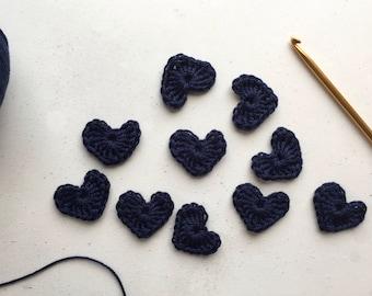Navy blue Crochet hearts - Crochet flowers - Crochet applique hearts - Crochet appliqué flowers