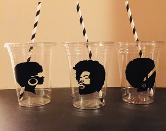 70s Party Cups, Afro, African Cups, Disco, 1970, 70's Birthday, Party Favor, Retirement Party