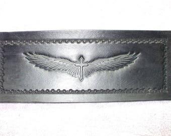 mens custom cross wallet / billfold, (mens black wallet) (79)