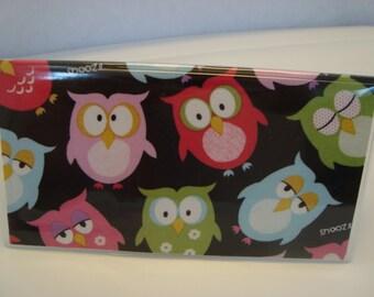 Checkbook Cover , Holder - Sleepy Owls