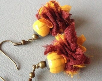 Earrings Bohemian earrings, short ceramic raku and silk saffron yellow and Red marsala, Leamorphoses creation