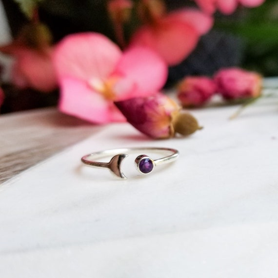 Amethyst Gemstone Moon Crescent Ring, Silver Witchy Stackable Ring, Triple Goddess, Chakra, MoonChild, Stardust, February Birthstone, Purple