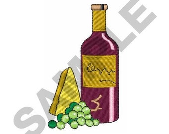 Wine Grapes Cheese - Machine Embroidery Design