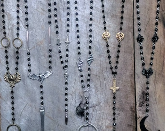 OOAK - Rosary - Necklace - Jewelry - Snake - Spooky - Coffin Nail - Crystal - Goth - Gothic - Witchy - Occult - Antique - Moon - Dark