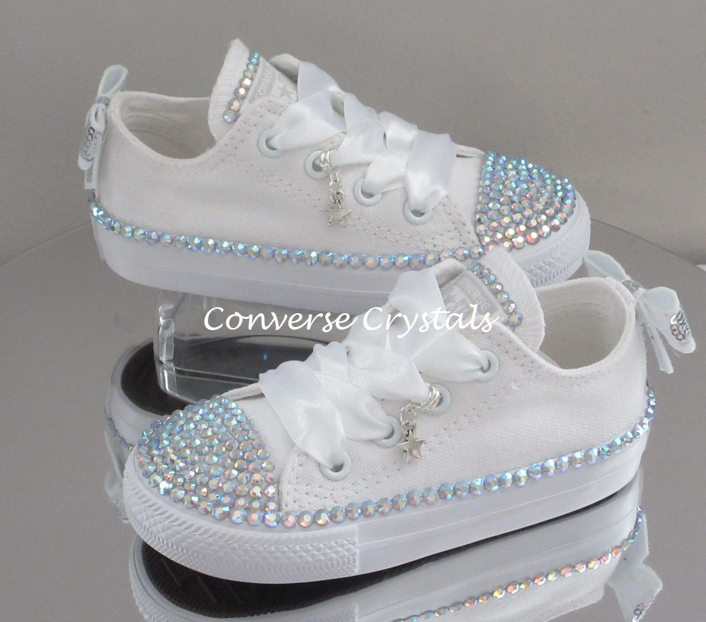 4e69f973edca Infant Bridesmaid  Bridal Custom Crystal  Bling  Converse Sizes 2-10 ...