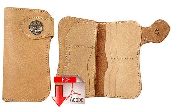 pdf pattern leather template long wallet leathercraft diy