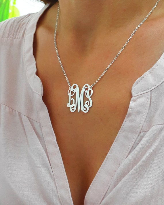 Personalized monogram necklace silver monogram necklace 1 aloadofball Images