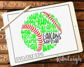 Messy Falcons Softball INSTANT DOWNLOAD in dxf, svg, eps for use with programs such as Silhouette Studio and Cricut Design Space