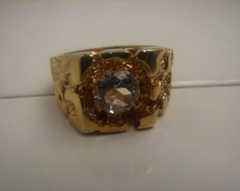 CZ Nugget Size 11 Ring in Heavy 18KT Gold Overlay 313a