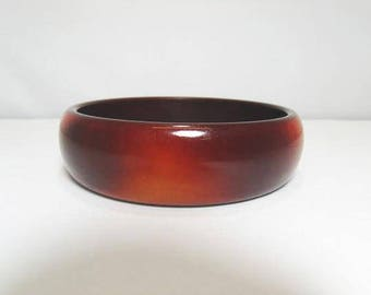 Tortoise Shell Bangle Bracelet / Faux Tortoise Shell Plastic Resin Bracelet