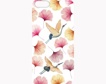 Coque iphone, iphone 7, protection, coque iphone fleurs, motif japon, coque portable, oiseau, surface mate, illustration, aquarelle, ginkgo