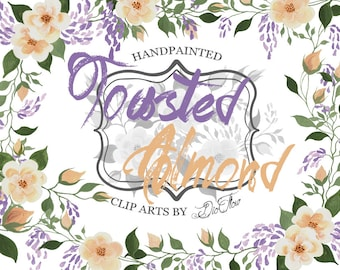 Clipart Roses Wisteria Lilac Watercolor Flowers Clip art Rose Flower Peach Wedding Invitation Watercolour Floral Illustration Toasted Almond