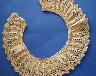 Antique Lace Collar Victorian 1800s Estate Hand Crocheted for Baby or Child