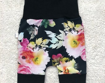 READY to go Short scalable, 6-36 months, grow with me, baby clothing, girl, flowers