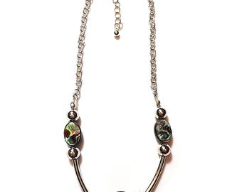Abalone and Silver Chain Choker