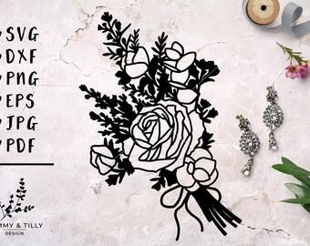 Country Flowers Bouquet - Papercut, Machine Cut & Clipart - SVG DXF PNG Eps Pdf Jpg