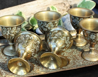 Mini Goblets Set of 6 with Tray - India Engraved Brass - Gorgeous!