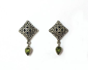 Vintage 1960's Green Peridot Gemstone & 925 Silver Ornate Hearts Earrings August Birthstone